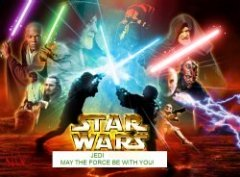 lightsaber battle between the good and the dark force in star wars, May the force be with you