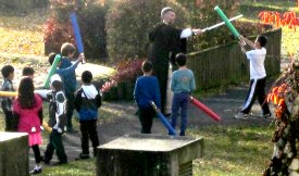Jedi training with Obi-Wan Kenobi for all our Star Wars Birthday party young Jedi in training