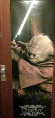Yoda Jedi door poster we used to invite our young Jdei knights to our star wars birthday party agreat decoration poster