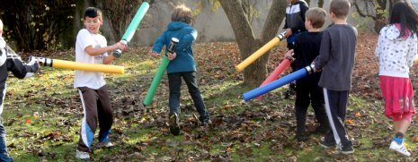 Star Wars Lightsabers battle with self made pool noodle lightsabers
